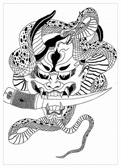 Coloring Pages Japanese Japan Demon Coloriage Hannya