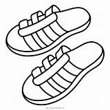 Sandals Coloring Sandal Shoes Icon Flip Flop Summer Slippers Pages Getcolorings sketch template