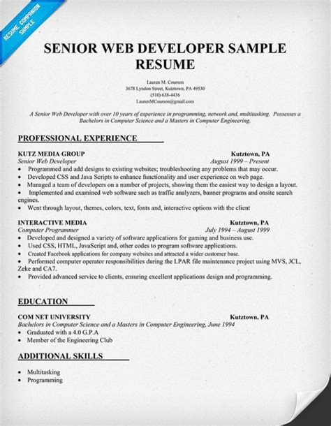 Web Developer Resume Template by The World S Catalog Of Ideas