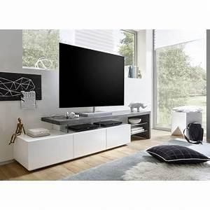 Meuble Tv Effet Beton : meuble tv design effet b ton et blanc laqu mat 3 tiroirs cbc meubles ~ Teatrodelosmanantiales.com Idées de Décoration