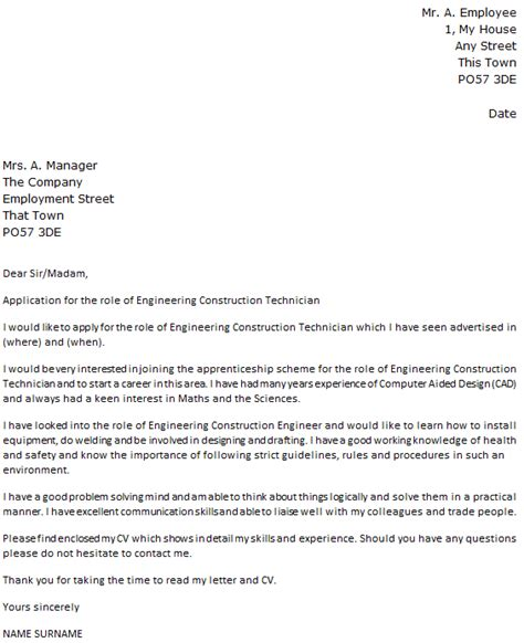 Engineering Technician Resume Cover Letter by Engineering Construction Technician Cover Letter Exle