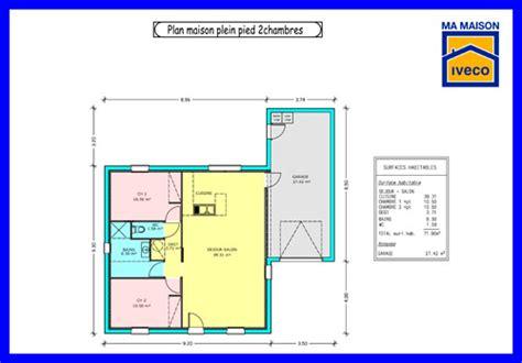 plan maison plain pied 2 chambres garage constructeurvendee plans de maisons