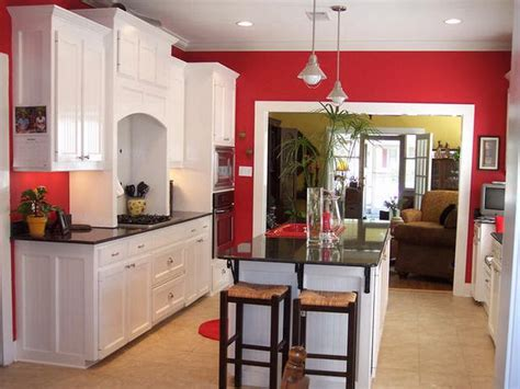 White Cabinet In Wall Red Kitchen Decorating
