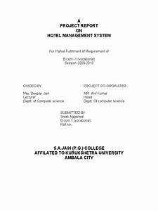 a project report on hotel management system inn hotel With hotel management system documentation pdf