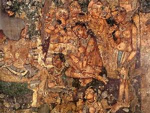 ancient hindu ajanta cave paintings of women in the clouds ...