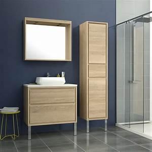 meuble de salle de bains de 80 a 99 brun marron storm With leroy merlin meuble de salle de bain