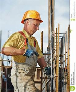 Construction Worker Making Reinforcement In Building Site ...