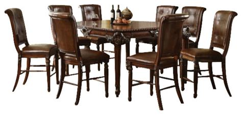 cherry wood pub table set 9 piece winfred collection cherry finish wood counter