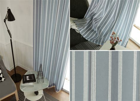 Vertical Striped Polyester And Linen Blue And Gray Curtains No Hot Water In Kitchen Sink L Shaped Sinks Perth Drain Vent Apron Front Best Way To Unclog A 3 Bowl Small For Caravans