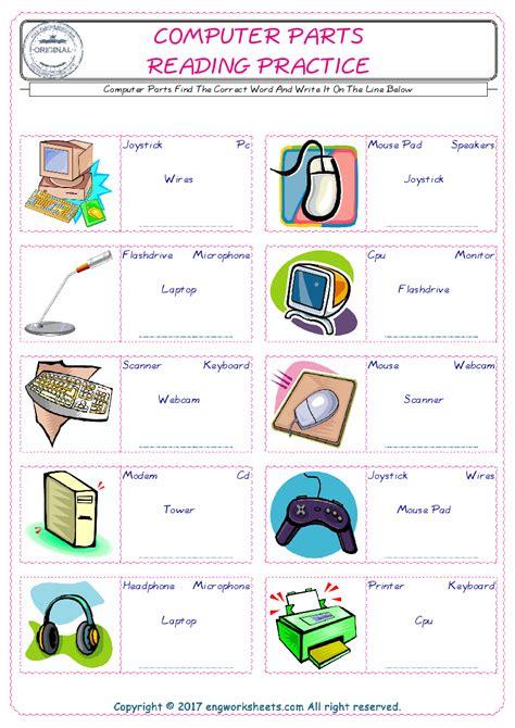 computer parts esl printable english vocabulary worksheets
