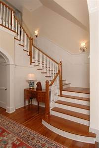 Paneled, Wainscot, Along, Stairs, Created, Using, Square, Lumber, Materials