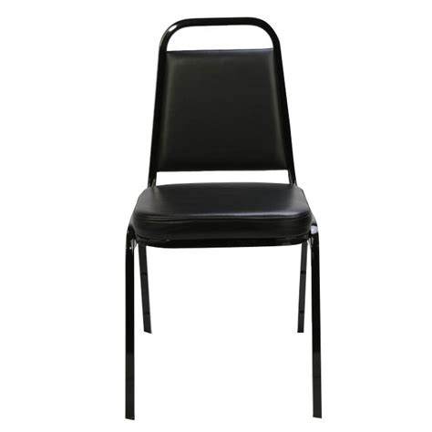 black metal frame leather seat stack chair with memory foam