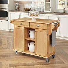 Natural Wood Finish Kitchen Island Cart With Locking