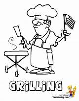 Coloring Pages July 4th Grilling Yescoloring Usa Bbq Grill Flag Sheets Colouring Printable Barbeque Rugged American America Party sketch template
