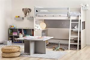 Lit mezzanine enfant avec etagere design bibliotheque for Chambre design avec sommier et matelas 120x200