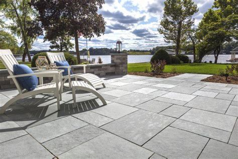 natural stone  unilock limestone patio