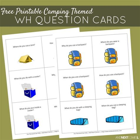 printable camping themed wh question cards