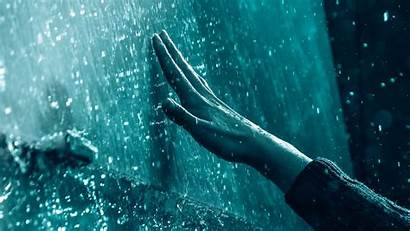 Rain Drops Hand Touch Rainy 4k Background
