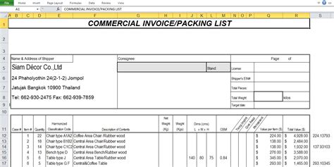commercial invoice sample template excel tmp