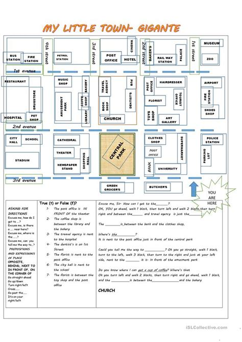 giving directions prepositions  place places   town