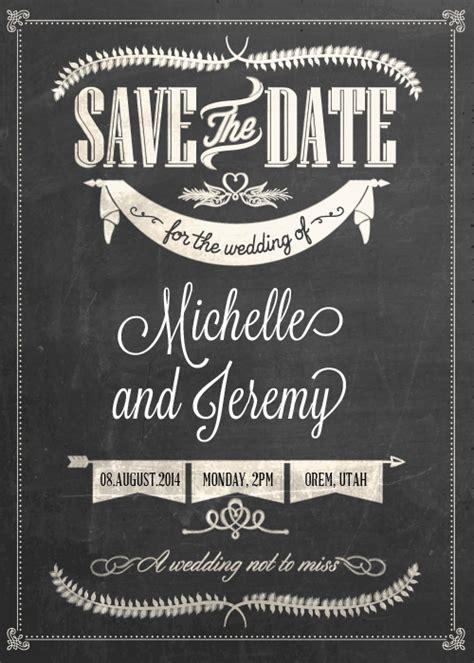 Stylish Chalkboard Save The Date  E    Ee  Wedding Ee    Ee  Invitation Ee