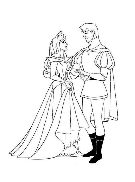 princess aurora  prince phillip sing  dance  coloring page  print