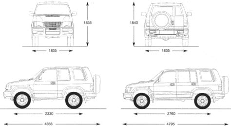 isuzu trooper suv blueprints  outlines