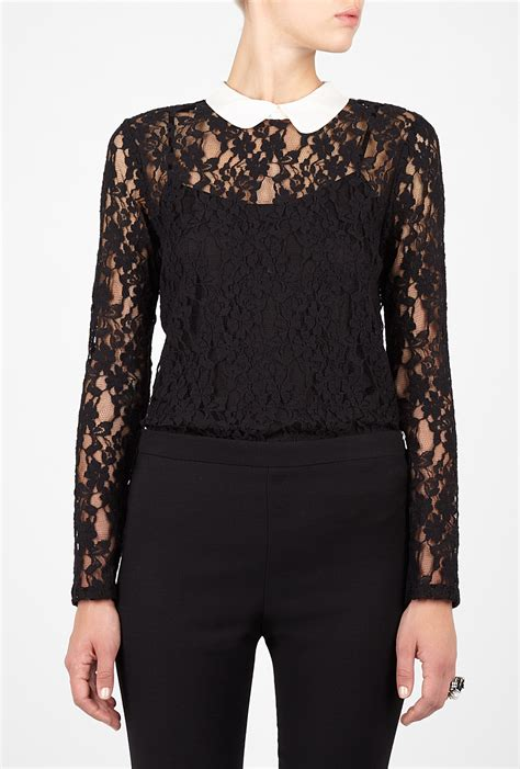 lace collar blouse dkny black lace contrast collar blouse in black lyst