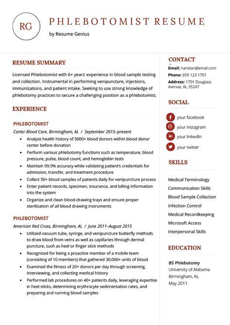 phlebotomist resume sample resume genius