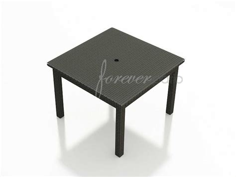 outdoor dining table with umbrella hole forever patio barbados wicker square 48 dining table with
