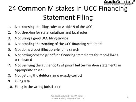 avoid costly mistakes  ucc financing statement filing