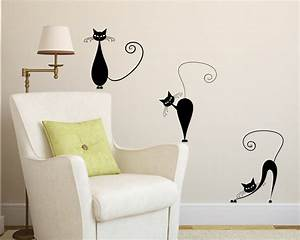 vinyl wall decal 3 cute cats wall decals With cat wall decals