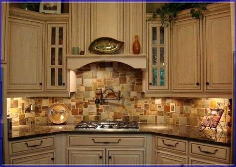 stone copper tiles backsplash rustic kitchen antique