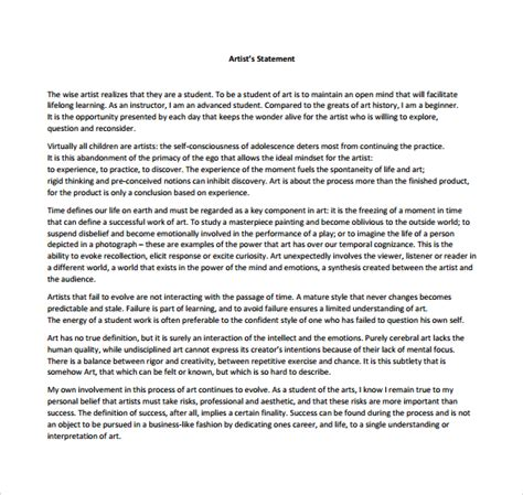 artist statement template 10 sle free artist statements sle templates