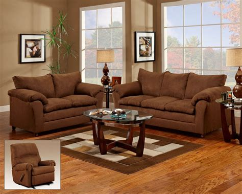 Chocolate Brown Sofa And Loveseat casual chocolate brown fabric sofa seat living room