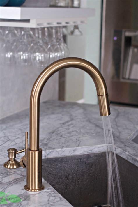 delta trinsic kitchen faucet chagne bronze delta gold trinsic kitchen faucet chic and