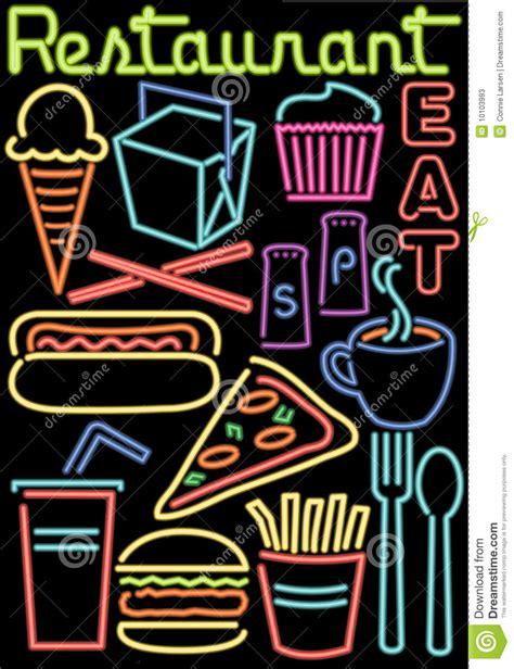 neon cuisine neon restaurant food symbols ai stock vector image 10103993