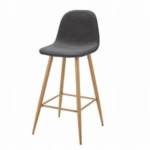 Chaise En Tissu Gris : chaise de bar en tissu gris anthracite clyde maisons du monde ~ Teatrodelosmanantiales.com Idées de Décoration