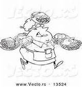 Waitress Coloring Carrying Fat Cartoon Female Outline Plates Many Restaurant Vector Clipart sketch template