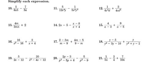 simplifying algebra worksheet and answers 14 best images of rational equations worksheet with