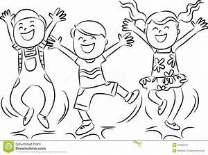 Happy jumping kids stock illustration. Illustration of ...