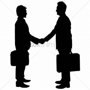 Businessman shaking hands silhouette Vector Image ...