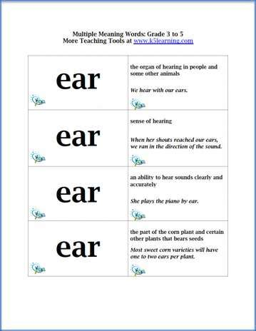 multiple meaning words flashcards  grade