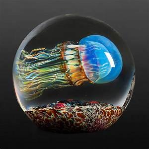 Moon Jellyfish Side Swimmer by Richard Satava (Art Glass