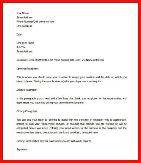 weeks notice letter