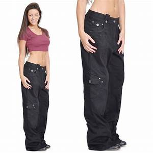 Ladies Womens Black Baggy Loose Cargo Pants Wide Boyfriend ...