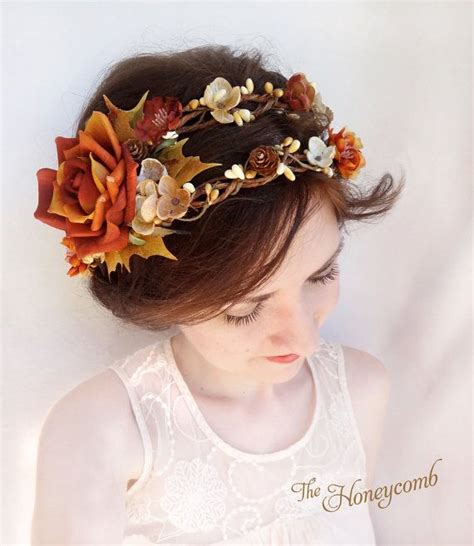 Fall Wedding Headpiece Rustic Flower Crown Autumn By
