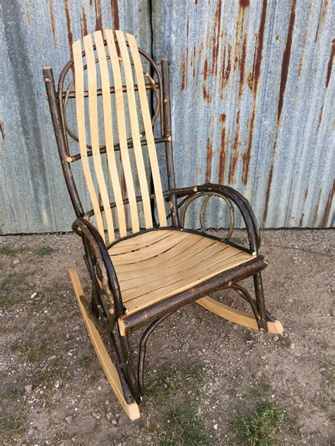 amish bent hickory rocker oak with bent hickory arms