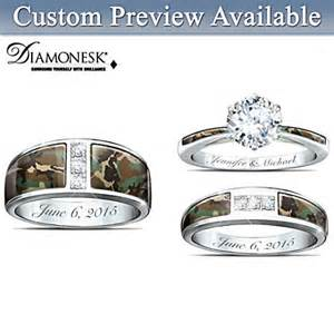 camouflage wedding ring sets camo his and hers personalized engraved wedding ring set