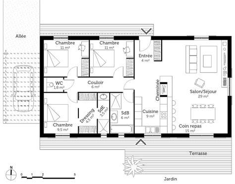 les 3 chambres plan maison 1 chambre plan habill rdc maison maison